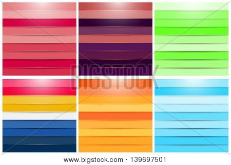 Set of Abstract Backgrounds - EPS10 Modern Colorful Lines Wallpaper - Decorative Design for Presentation