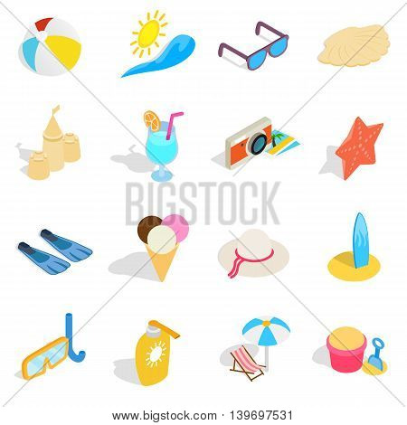 Beach icons set in isometric 3d style. Summer holiday elements set collection vector illustration