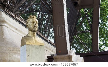 PARIS, FRANCE - MAY 12, 2015: It is a monument to Gustave Eiffel at the foot of the Eiffel Tower.
