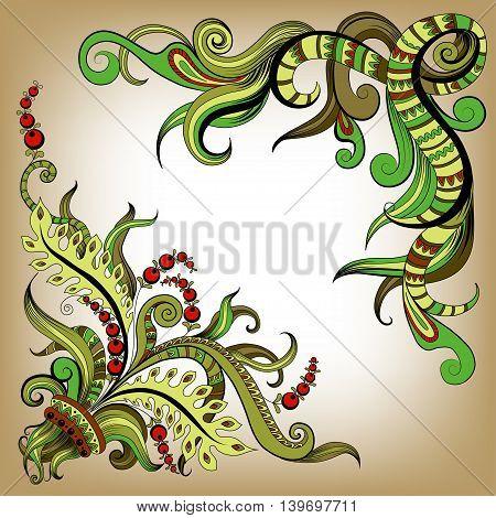 Sketchy doodles decorative floral color outline for design