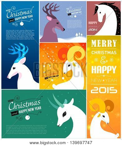 Set of Merry Christmas and Happy new year cards. 2015, 2014 years. Goat, sheep, horse, deer. Vector illustration.
