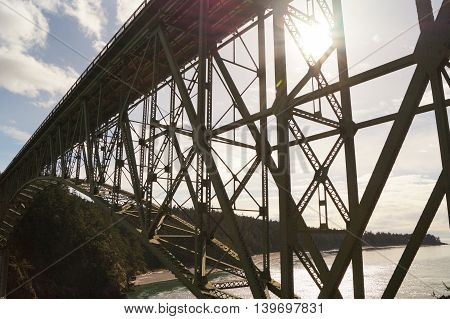 A Bridge Over Deception Pass in Washington, USA