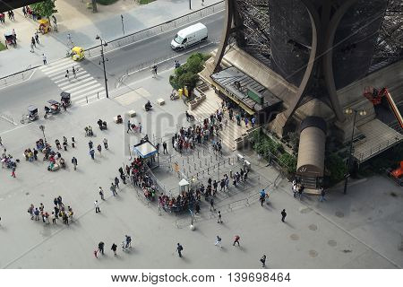 PARIS, FRANCE - MAY 12, 2015: This is an aerial view of one of the four inputs of the Eiffel Tower.