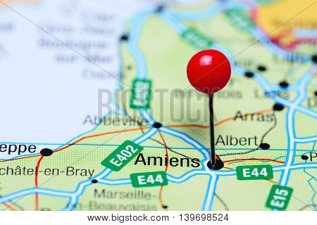 Amiens pinned on a map of France