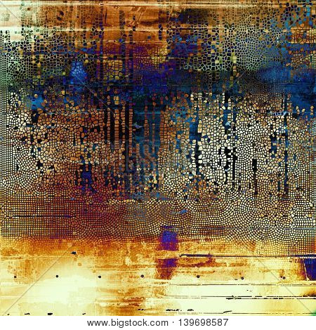 Grunge design composition over ancient vintage texture. Creative background with different color patterns: yellow (beige); brown; black; blue; red (orange); purple (violet)