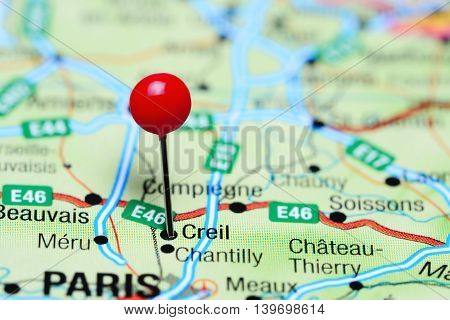 Creil pinned on a map of France