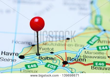 Bolbec pinned on a map of France