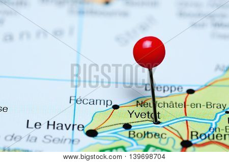 Yvetot pinned on a map of France