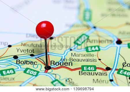 Rouen pinned on a map of France