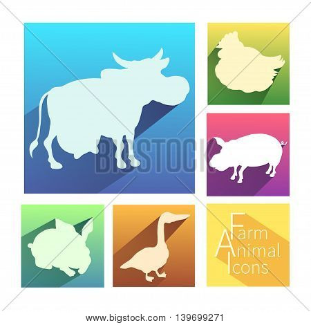 Vector flat farm animal icon. Isolated with long shadow. Silhouette color animals for your polygraphy web design logo app UI.