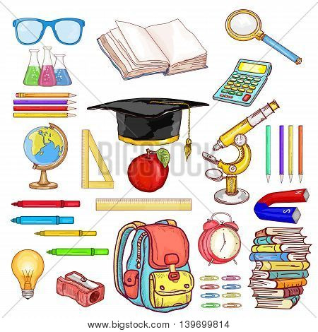 Education objects back to school collection hand drawn elements vector