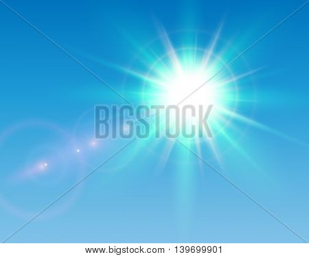 Sun with lens flare and blue sky, vector sunny background.