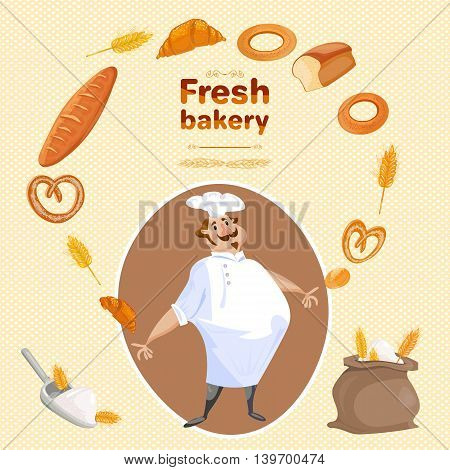 Baker bakes bread and buns bakery products cartoon vector