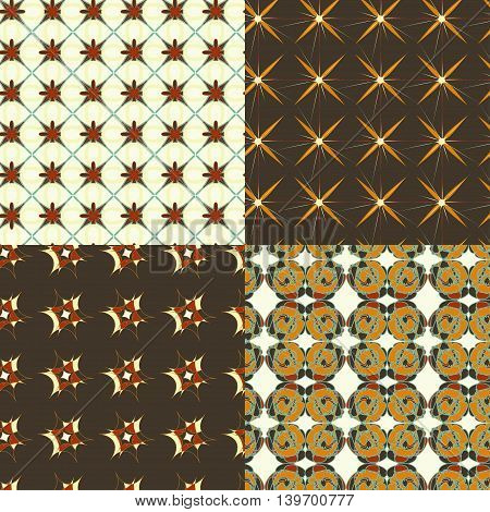 Vector abstract pattern set with geometrical ornament. Retro colored abstract patterns for paper textile polygraphy game web design