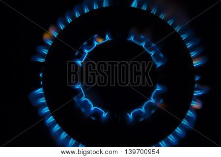 Gas burner flames - Closeup top view isolated on black background.