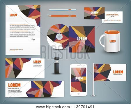 Corporate identity templates. Corporate identity templates blank, business cards, disk, envelope, smart phone, pen, pencil, flag, cup usb flash driver Isolated with soft shadows