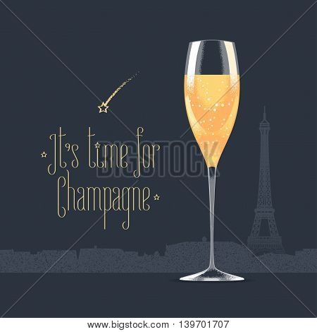 French Eiffel tower and glass of champagne vector illustration. Visit France, Paris concept design element with French architecture symbol. Its time for champagne quotation