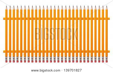 Stationery - Fence from graphite pencils on a white background.