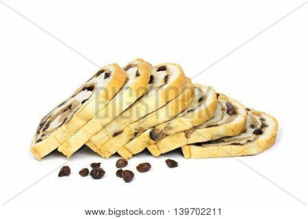 Raisin Bread isolated on a white background