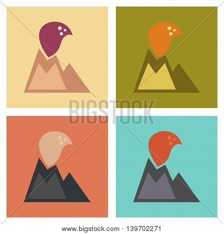 assembly of flat icons nature volcano erupting