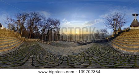360 panorama of the view from the stairs in Acropolis Park (Parcul Cetățuia *** Fellegvár) at sunrise in Cluj-Napoca, Romania.