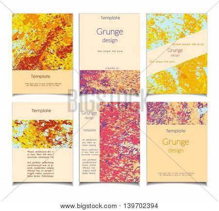 Grunge vector template set. Summer theme. Colored texture patterns for posters greeting cards flyers and banner web designs. Anniversary holiday wedding business birthday party invitations.