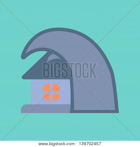 flat icon on stylish background nature tsunami house