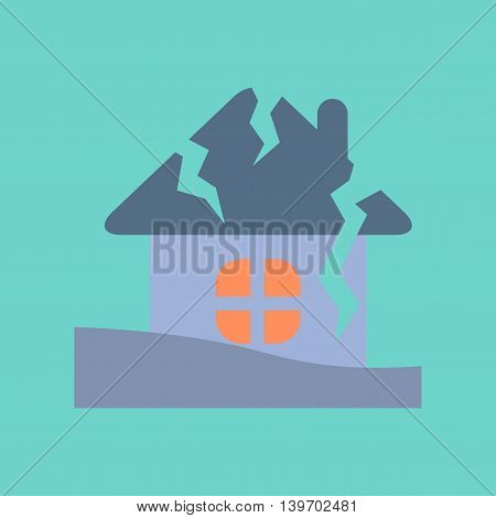 flat icon on stylish background nature house crash