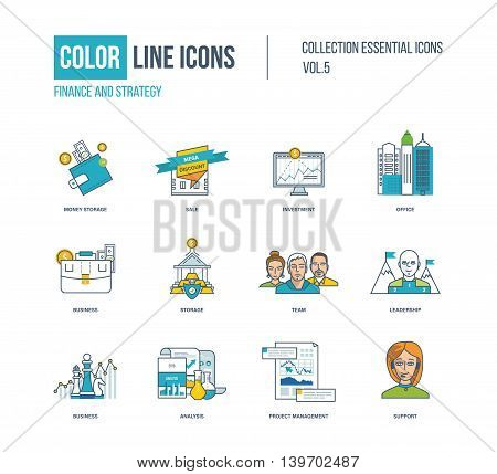 Color thin Line icons set. Super sale, investment, strategy for success, money storage, office buiding, protection and storage, our team, project management and support. Colorful logo and pictograms