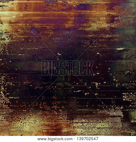 Grunge background with delicate aged texture. Antique backdrop with retro vintage elements and different color patterns: yellow (beige); brown; black; green; red (orange); purple (violet)