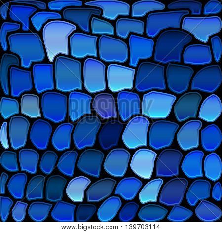 abstract vector stained-glass mosaic background - dark and light blue