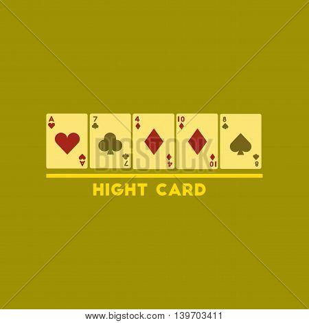 flat icon on stylish background poker high card