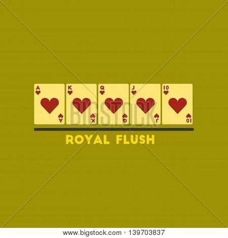 flat icon on stylish background poker royal flush