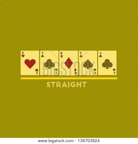 flat icon on stylish background poker cards straight