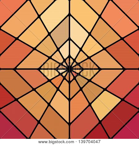 abstract vector stained-glass mosaic background - red and orange rhombus