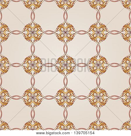 Seamless ornate floral pattern of brown henna on beige background