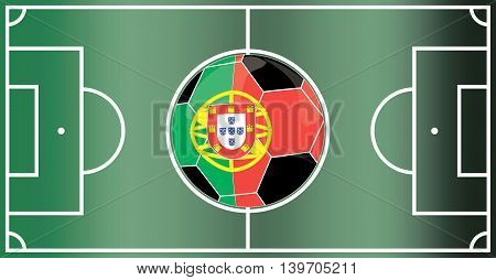 Soccer with crown and Portugal flag on soccer field. vector illustration vector