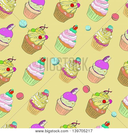 illustration with the image of cakes. Bright multi-colored pattern on a ocher beige background