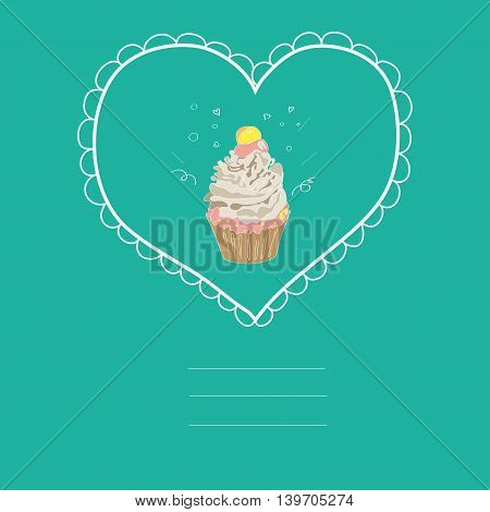 illustration with the image of a cake in a frame in the shape of a heart on a blue background