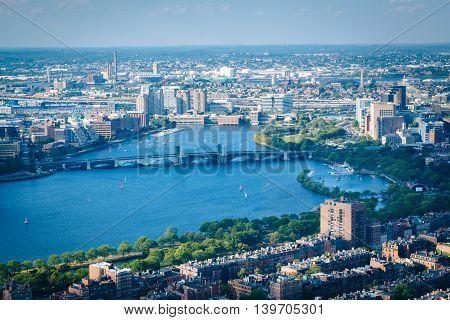 View Of The Charles River And Longfellow Bridge, In Boston, Massachusetts.