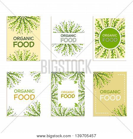 A set of cards with the words organic food for environmental products advertising. Vector illustration for a poster wrapper magazine.