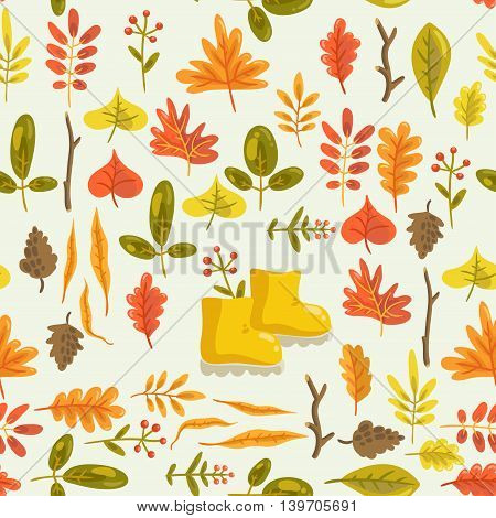 Hello autumn. vector seamless pattern with autumn leaves and rubber boots