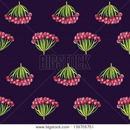Seamless illustration with autumn viburnum berries on dark background. Pattern hand drawn with colored pencils