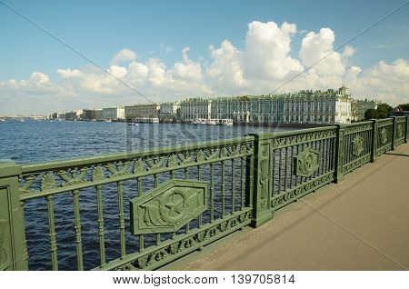 The bridge over the river.The historic railing from the Soviet era.