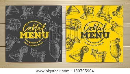 vector illustration of Vintage cocktail menu design