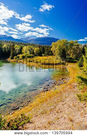 First Lake, Valley Of The 5 Lakes, Jasper National Park, Alberta, Canada