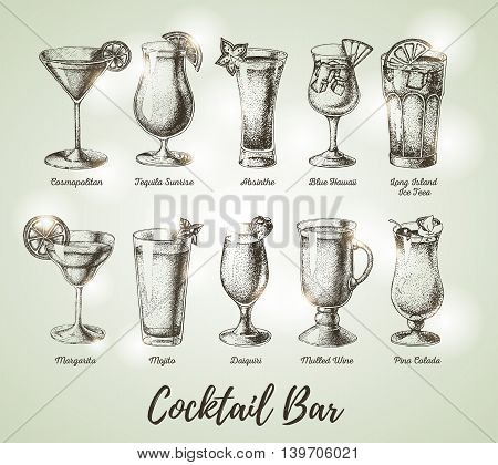 Vintage cocktail bar menu. Sketch art. Vector illustration