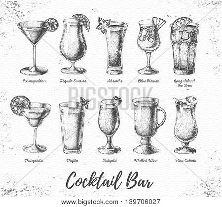 Vintage grunge cocktail bar menu. Sketch art