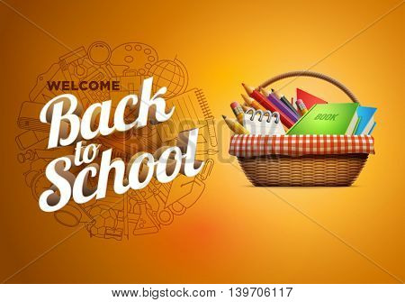 Back to school poster with school supplies wicker basket. Detailed vector illustration.