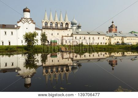 Tikhvin. Theotokos Tikhvin Assumption Monastery. View from the lake syrkovoy. Russia.